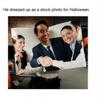 Halloween, Lmao, and Memes: He dressed up as a stock photo for Halloween Lmao (@memes)