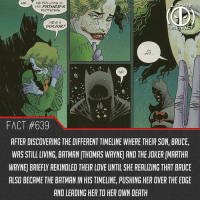 "Batman, Doctor, and Future: HE FOLLOWS IN  HIS FATHER'S  FOOTSTEPS  HES A  DOCTOR?  CH  600  NO  FACT #639  AFTER DISCOVERING THE DIFFERENT TIMELINE WHERE THEIR SON, BRUCE,  WAS STILL LIVING, BATMAN [THOMAS WAYNE AND THE JOKER (MARTHA  WAYNE BRIEFLY REKINDLED THEIR LOVE UNTIL SHE REALIZING THAT BRUCE  ALSO BECAME THE BATMAN IN HIS TIMELINE, PUSHING HER OVER THE EDGE  AND LEADING HER TO HER OWN DEATH Kind of makes me excited for the Flash movie since it's supposedly goes over Flashpoint, if only it wasn't the first movie because that is kinda stupid for an origin...like nobody wants that...it could not irritate me more. That's the issue with DC, they are being mislead by writers. They are like ""hey, what comic storyline would gives these fans enough fan service...""...makes me sick not gonna lie. Not saying they need to do an origin story but you can't just do THE MOST IMPORTANT STORYLINE OF THE FLASH CHARACTER IN THE FIRST MOVIE!!! that's like having venom in the very first spiderman movie...I could legit rant all day about that crap man -- What do you see in the future of DCEU?"