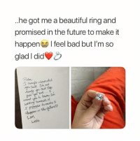 Bad, Beautiful, and Future: ..he got me a beautiful ring and  promised in the future to make it  happen I feel bad but I'm so  glad I did  Babu  you Said Im not  that Sup  out.... T  want you to Knaw Im  ing towands  omuse to make lt  hoppm in  4ov,  keslil Ring from @moonroadjewelry💍 giveaway on their page💙 This is goals😭