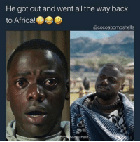 This guy @dailyhoodvirals has the most savage memes! But is going private soon!: He got out and went all the way back  to Africa!  @cocoabombshells This guy @dailyhoodvirals has the most savage memes! But is going private soon!