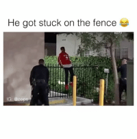 Fail, Police, and Law Enforcement Office (LEO): He got stuck on the fence  KG  IG: @cop Epic fail 😂 Drop a like! cops police