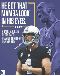 Derek Carr: Mamba Mentality 🐍: HE GOT THAT  MAMBA LOOK  IN HIS EYES  6633  KHALIL MACK ON  RAIDERS  DEREK CARR  PLAYING THROUGH  HAND INJURY  br Derek Carr: Mamba Mentality 🐍