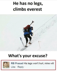 Memes, 🤖, and Everest: He has no legs,  climbs everest  'J  What's your excuse?  RB Prasad His legs won't hurt, mine will  Like Reply Seriously Do not, I repeat, DO NOT follow @MEMEZERINO if you are easily offended 😳🔞