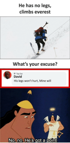 What's ur excuse ?: He has no legs,  climbs everest  What's your excuse?  O Top fan  David  His legs won't hurt, Mine will  No, no. He's got a point What's ur excuse ?