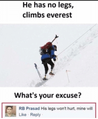 Irl, Me IRL, and Everest: He has no legs,  climbs everest  What's your excuse?  RB Prasad His legs won't hurt, mine will  Like Reply me_irl