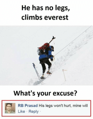 True, Everest, and Mine: He has no legs,  climbs everest  What's your excuse?  RB Prasad His legs won't hurt, mine will  Like Reply True though! (i.redd.it)
