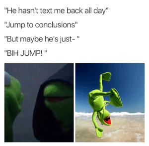 """Text, Back, and Issues: He hasn't text me back all day""""  """"Jump to conclusions""""  """"But maybe he's just-""""  """"BIH JUMP!"""" Kermitment issues"""