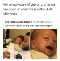 Basketball, Finals, and Nba: He having visions of Lebron Jr chasing  him down on a fast break in the 2040  NBA finals  The Mack Attack(Bears 1-1) @Scott_CEOof...  Why am I fuckin dying man djsnsjnsjsnsjsns Y'all cold🤦‍♂️ nbamemes nba curry bron (Via ‪3testes‬-Twitter)