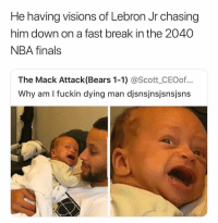 Finals, Nba, and NBA Finals: He having visions of Lebron Jr chasing  him down on a fast break in the 2040  NBA finals  The Mack Attack(Bears 1-1) @Scott_CEOof...  Why am I fuckin dying man djsnsjnsjsnsjsns Bro 😂😭😭😭💀💀