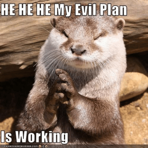 Evil, Working, and Plan: HE HE HE My Evil Plan  Is Working  ICANHASCHEEZEURGER.OOM s-O TTER-rifying