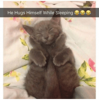 Love, Memes, and Sleeping: He Hugs Himself While Sleeping Follow @1foxybitch I love her page ❤