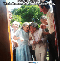 Memes, Smile, and Wedding: He is 100 She is 93  This is on theirofficial wedding day  them Talent  Explore This makes my soul smile.  Cheers to the Newlyweds  💍😘
