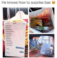 Bae, Memes, and Pizza: He knows how to surprise bae e  1  2:50 PM  <Messages  Alma  Details  I want mams J  I want kitkat  Iwant Miky Way  I want 3 musketeers  I want Reose's  I want Hersey's  I want you  i want pizza  t want a hug  I want ice cream  I want cupcakes  Iwant brownies  nowt  Doyeh  hat was too outa  ReaRy)  心3  l tried: