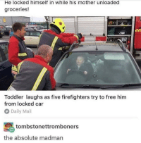 Daily Mail, Free, and Mail: He locked himself in while his mother unloaded  groceries!  Toddler laughs as five firefighters try to free him  from locked car  Daily Mail  tombstonettromboners  the absolute madman Free him!