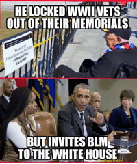 HE LOCKED WWII VETS  OUT OF  MEMORIALS  BUT INVITES BLM  TO THE WHITE HOUSE  tless Patriot Unfortunately not a grandma, just a very uneducated friend. PS: OBUMMER!!!