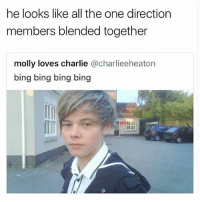 Charlie, Lol, and Memes: he looks like all the one direction  members blended together  molly loves charlie @charlieeheaton  bing bing bing bing  IT lol wow