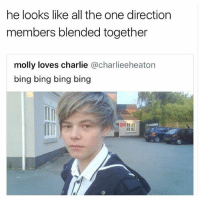 Charlie, Memes, and Molly: he looks like all the one direction  members blended together  molly loves charlie @charlieeheaton  bing bing bing bing  ITm 😂