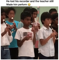 I'm dead! 😂 Credit - @aashnabelenje: He lost his recorder and the teacher still  Made him perform  IG: Daquan I'm dead! 😂 Credit - @aashnabelenje