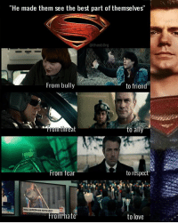 "Batman, Love, and Memes: ""He made them see the best part of themselves'""  @theobOrg  From bull;y  to friend  From threat  to ally  From fear  to respect  From hate  to love Agree? Editedby: Domics Cetective @TheoBOrg (I just added the Superman on the side) @henrycavill SteppenWolf CiaranHinds HenryCavill Darkseid Lanterns Kryptonian UniteTheLeague JusticeLeague @gal_gadot dccomics warnerbros Batman WonderWoman dccinematicuniverse dcextendeduniverse dceu dcfilms ManofSteel BatmanvSuperman DawnofJustice SuicideSquad WonderWoman JusticeLeague Aquaman TheBatman GothamCitySirens TheFlash Nightwing Batgirl Cyborg GreenLanternCorp heroic_gateway @wbpictures @heroic.gateway - . . . . . -Make Sure to Give this Post a LIKE and be so kindly Leave your thoughts and comments below. Make sure to turn on Accounts Post-Notification for more of our Daily Awesome DCEU posts."