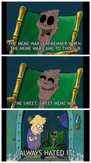 When you were just trying to look at dank Spongebob memes: HE MEME WAR. I REMEMBER yHEN  THE MEME WAR CAME TO THIS SUB  THE SWEET, SWEET MEME WAR  2L ALWAYS HATED I When you were just trying to look at dank Spongebob memes