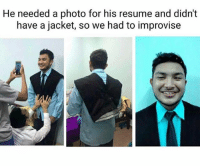 If you're not following @boywithnojob what are you waiting for?: He needed a photo for his resume and didn't  have a jacket, so we had to improvise If you're not following @boywithnojob what are you waiting for?