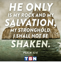 Memes, 🤖, and Rock: HE ONLY  IS MY ROCK AND MY  SALVATION  MY STRONGHOLD  I SHALL NOT BE  SHAKEN.  PSALM 62:6  T BN The Lord will never let you down. Trust in Him!