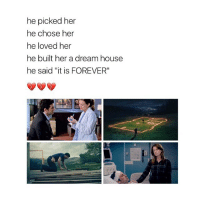 """I have so many merder-Derek related posts in my camera roll 😬💞 greysanatomy merder: he picked her  he chose her  he loved her  he built her a dream house  he said """"it is FOREVER"""" I have so many merder-Derek related posts in my camera roll 😬💞 greysanatomy merder"""