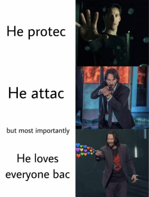 https://t.co/ElnQOwI8IZ: He protec  He attac  but most importantly  He loves  everyone bac https://t.co/ElnQOwI8IZ