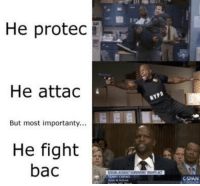 Memes, Fight, and 🤖: He protec  He attac  But most importanty...  He fight  bac  SPAN https://t.co/12LhTdImXS