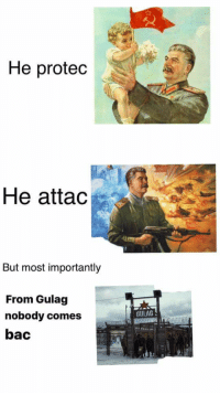 He protec, he attac, but most importantly...: He protec  He attad  But most importantly  From Gulag  nobody comes  bac  GULAG He protec, he attac, but most importantly...