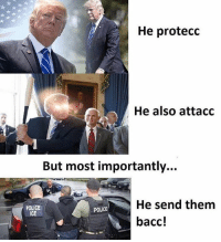 America, Memes, and Police: He protecc  He also attacc  But most importantly...  He send them  bacc!  POLICE  ICE  POLICE Making America great again folks!! liberal maga conservative constitution like follow presidenttrump resist stupidliberals merica america stupiddemocrats donaldtrump trump2016 patriot trump yeeyee presidentdonaldtrump draintheswamp makeamericagreatagain trumptrain triggered Partners --------------------- @too_savage_for_democrats🐍 @raised_right_🐘 @conservativemovement🎯 @millennial_republicans🇺🇸 @conservative.nation1776😎 @floridaconservatives🌴