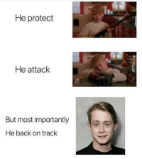 Memes, Back, and 🤖: He protect  He attack  But most importantly  He back on trac 🤠🤠