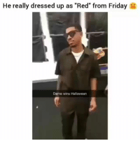 """Friday, Funny, and Halloween: He really dressed up as """"Red"""" from Friday  Dame wins Halloween 😂😂 Nailed it or nah? red friday funniest15 viralcypher funniest15seconds"""