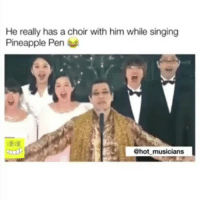 Memes, Singing, and Pineapple: He really has a choir with him while singing  Pineapple Pen  @hot musicians 🔏🍍🍎 ppap