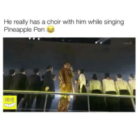 Singing, Pineapple, and Him: He really has a choir with him while singing  Pineapple Pen Welcome to 2017!