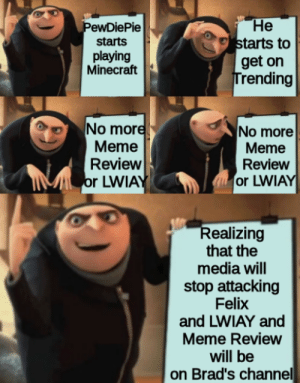 Meme, Minecraft, and Free: He  starts to  get on  Trending  PewDiePie  starts  playing  Minecraft  No more  Meme  Review  Sor LWIAY  No more  Meme  Review  or LWIAY  Realizing  that the  media will  stop attacking  Felix  and LWIAY and  Meme Review  will be  on Brad's channel 2019 so far + some free Brad promo