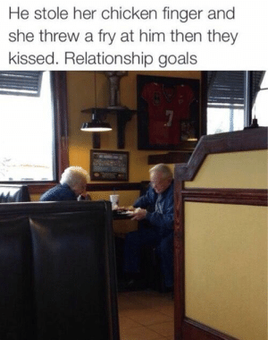 Goals, Lol, and Relationship Goals: He stole her chicken finger and  she threw a fry at him then they  kissed. Relationship goals wish i had a relationship like that lol