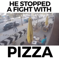Memes, 🤖, and  Two Men: HE STOPPED  A FIGHT WITH  TWO MEN GOT INTO  PIZZA Love heart public service...