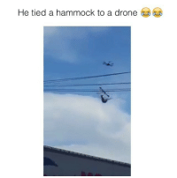 How strong is it!?: He tied a hammock to a drone How strong is it!?