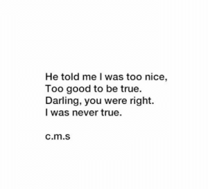 True, Good, and Never: He told me l was too nice,  oo good to be true.  Darling, you were right.  I was never true.  c.m.s