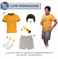 "<p>Halloween's almost here, so all week long we're gonna show you how to recreate some classic Tonight Show costumes! </p><p>If you dress-up as one of our show characters, make sure to tag your photos with <a href=""http://fallontonight.tumblr.com/tagged/diyhalloweencostume"" target=""_blank"">#FallonCostume</a>. Check back in here all week long for more costume guides! </p>: HE  TONIGHT  ALI CAMP WINNIPESAUKEE  JIMMY  FALLON  4  5  1. YELLOW T-SHIRT 12. TUBE SOCKS 