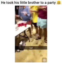 Friends, Memes, and Party: He took his little brother to a party  Javie  ag9  legal →DM - TAG to 15 friends for a shoutout 😂👇