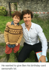 Birthday, Lol, and Sherlock: He wanted to give Ben his birthday card  personally lol <p>Bask in the cuteness that is Benedict Cumberbatch and the little actor who played his younger self in Sherlock ❤❤❤</p>