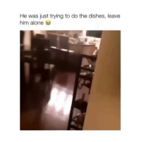 Being Alone, Memes, and 🤖: He was just trying to do the dishes, leave  him alone Poor doggo :( ( @was )