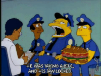 Memes, 🤖, and Jaws: HE WAS TAKING A BITE,  AND HIS JAW LOCKED. Poor Wiggum 😥