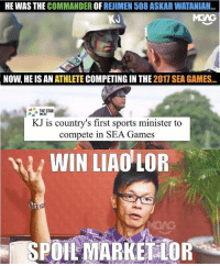 Wah our sports minister @khairykj really spoil market for all other guys ah!: HE WAS THE COMMANDER OF REJIMEN 508 ASKAR WATANIAH..  KJ  NOW, HE IS AN ATHLETE COMPETING IN THE 2017 SEA GAMES  THE STAR  な ONLINE  KJ is country's first sports minister to  compete in SEA Games  WIN LIAO LOR Wah our sports minister @khairykj really spoil market for all other guys ah!