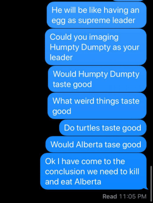 This speaks for itself: He will be like having an  egg as supreme leader  Could you imaging  Humpty Dumpty as your  leader  Would Humpty Dumpty  taste good  What weird things taste  good  Do turtles taste good  Would Alberta tase good  OkI have come to the  conclusion we need to kill  and eat Alberta  Read 11:05 PM This speaks for itself