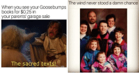 Books, Memes, and Parents: he wind never stood a damn chance  When you see your Goosebumps  books for $0.25 in  your parents' garage sale  The sacred texts! 15 90s Memes Thatll Make You Yearn For Better Times
