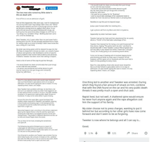 """It's a long one but worth the read.: He would break her down emotionally then push drugs  on her until she was hooked  He would use emotional and verbal abuse to guilt  trip her every time she quit drugs and constantly  tempt her with them  .He used her as a patsy for his """"Business""""  and he would take avantage of her weakened state to  isolate her from me and our Mother (who is amazing btw)  +SUBSCRIBE  ted by u  The two men who ruined my little sister's  life are dealt with  First off this is not an admission of guilt.  Now all this happened a few years ago, now for background  me and my little sister have always been close. Are """"father""""  was abusive towards use from a young age and as a result  we formed a strong bond to support each other. In our  early 20's we wound up experimenting with drugs, we  both quit at the same time when it began to shift from a  fun thing"""" to a """"problem thing"""". Nothing bad ever came  of it. Until he showed up  Needless to say this put me beyond anger  Jump a year forward after her meeting hi...  I get a phone call from my Mom and she's in hysterics.  Apparently my sister had been raped.  Tweeker had got her high and then abandoned her at a party  where a """"friend"""" of his had taken advantage of her  Meet Tweeker, he's 2 years older then me and never had a  honest job in his life. He was actually banished from a town  for selling meth as a minor (Literally! I didn't even know this  was a thing till I met him!).  Tweeker then blamed her for being a slut and threatened her  into silence. Saying """"The police won't do shit."""" and that he  would deal with it. Now Tweeker is about 95b of grease anc  not very able in any respect but when I heard this I thought  Good, he's finally going to do something worth while.""""  My sister was doing great until he sleezed his way into her  life. Now its important to know my sister,as a result of years  of abuse and genetics, had developed a series of psycho-  logical problems that involve hallucinations and par"""