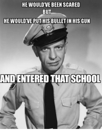 Memes, School, and Been: HE WOULD VE BEEN SCARED  BUT  HE WOULDVE PUT HIS BULLET IN HISGUN  AND ENTERED THAT SCHOOL